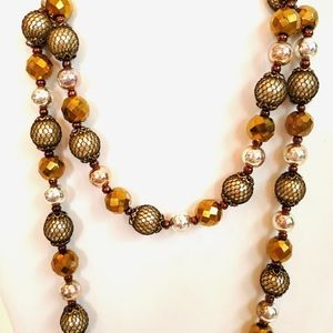 WHBM Gold, Silver and Copper Toned Beaded Necklace